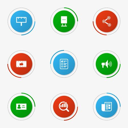 account data: Set Of 9 Commercial Icons Set.Collection Of Like, Market, Customer Summary And Other Elements.