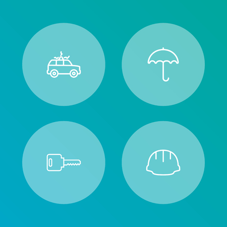 Set Of 4 Safety Outline Icons Set.Collection Of Helmet, Open, Siren And Other Elements.
