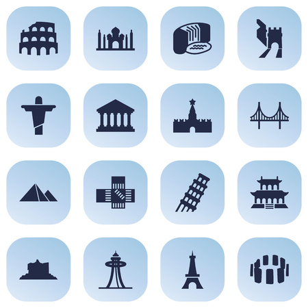 Set Of 16 Famous Icons Set.Collection Of Great Pyramid, The Forbidden City, China And Other Elements.