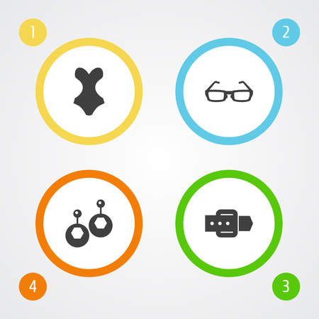 Set Of 4 Ornamentation Icons Set.Collection Of Beachwear, Sunglasses, Eardrop And Other Elements.