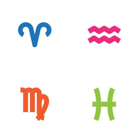 Set Of 4 Astronomy Icons Set. Colección de Virgen, Ram, peces y otros elementos. Vectores