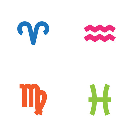 Set Of 4 Astronomy Icons Set.Collection Of Virgin, Ram, Fishes And Other Elements. Иллюстрация