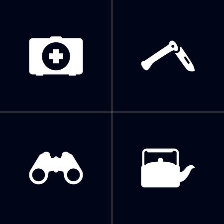 Set Of 4 Outdoor Icons Set.Collection Of Jackknife, First Aid Box, Kettle And Other Elements.