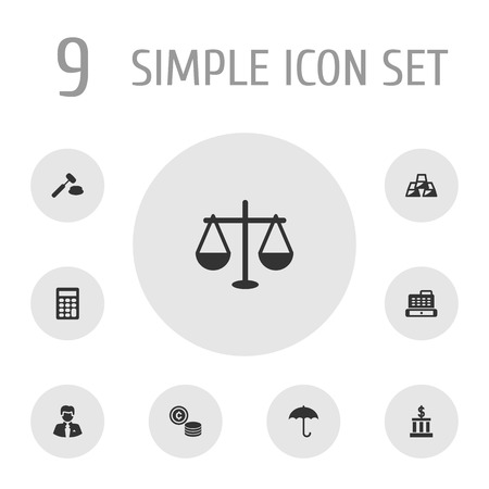 Set Of 9 Finance Icons Set.Collection Of Worker, Building, Cashbox And Other Elements.