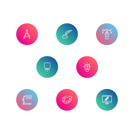 Set Of 8 Creative Outline Icons Set.Collection Of Inkwell With Pen, Bezier Curve, Table Lamp And Other Elements.