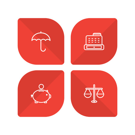 collect: Set Of 4 Finance Outline Icons Set.Collection Of Protect, Cash Register, Money Box And Other Elements.