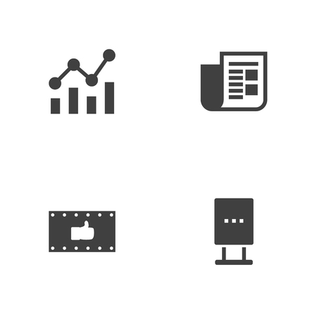 thump: Set Of 4 Commercial Icons Set.Collection Of Like, Billboard, Journal And Other Elements. Illustration