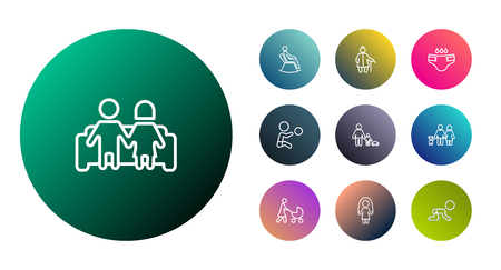 incontinence: Set Of 10 Relatives Outline Icons Set.Collection Of Skipping Rope, Lovers, Stroller And Other Elements. Illustration