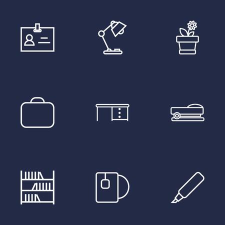 illuminator: Set Of 9 Bureau Outline Icons Set.Collection Of Flowerpot, Desk, Marker And Other Elements. Illustration