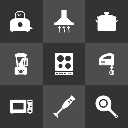 juice extractor: Set Of 9 Cooking Icons Set.Collection Of Oven, Skillet, Blender And Other Elements.