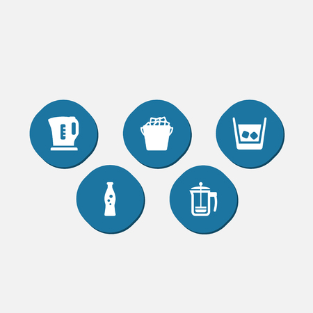 french culture: Set Of 5 Drinks Icons Set.Collection Of Fridge, Pot, Cognac And Other Elements. Illustration