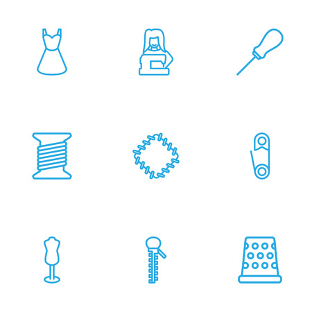 Set Of 9 Sewing Outline Icons Set.Collection Of Dummy, Awl, Tailor And Other Elements. Vectores