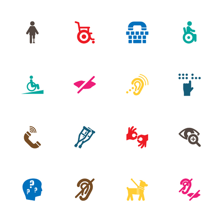Set Of 16 Disabled Icons Set.Collection Of Universal Access, Stroller, Hard Of Hearing And Other Elements. Illustration