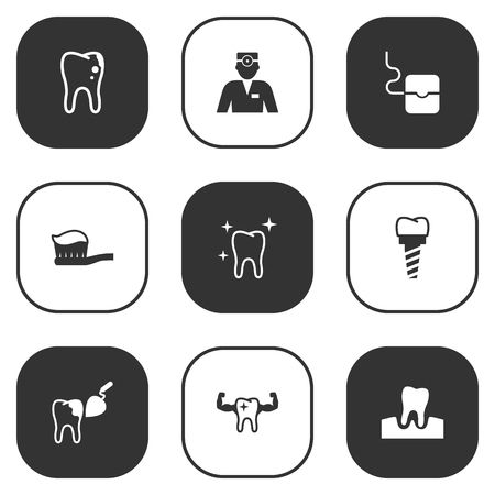 Set Of 9 Teeth Icons Set.Collection Of Dentist, Procedure, Implantation And Other Elements.
