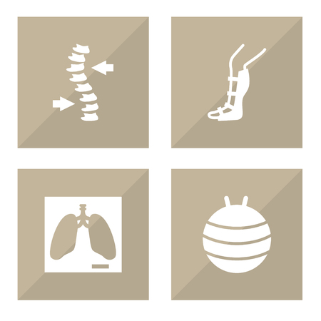 Set Of 4 Medical Icons Set.Collection Of Pilates, Lung, Splint And Other Elements. Illustration
