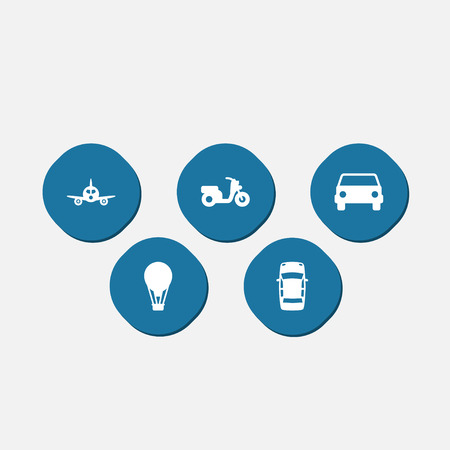 Set Of 5 Transport Icons Set.Collection Of Panorama, Airship, Car And Other Elements.