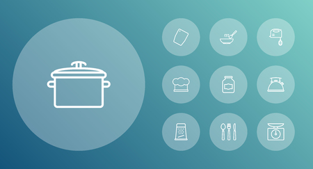 Set Of 10 Kitchen Outline Icons Set.Collection Of Pan, Jug, Chopping Board And Other Elements.