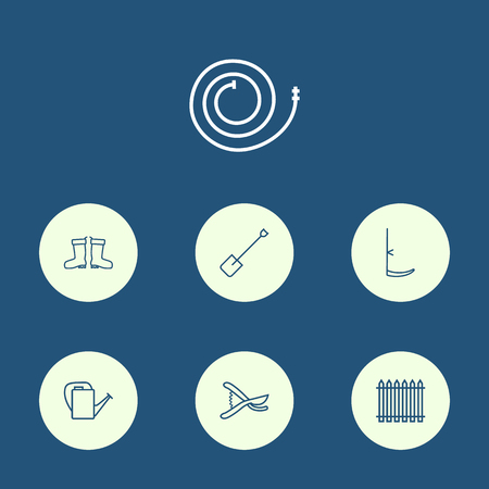 Set Of 7 Farm Outline Icons Set.Collection Of Secateurs, Bailer, Waterproof Shoes And Other Elements.