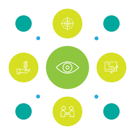 Set Of 5 Business Outline Icons Set.Collection Of Partnership, Planning, Eye And Other Elements.