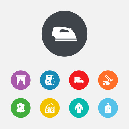 car wash: Set Of 9 Cleaning Icons Set.Collection Of Hoover, Iron, Curtain And Other Elements.