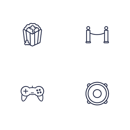 Set Of 4 Amusement Outline Icons Set.Collection Of Barrier Rope, Game Controller, Popcorn And Other Elements.