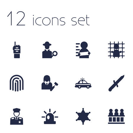 Set Of 12 Crime Icons Set.Collection Of Thumbprint, Jury, Bayonet And Other Elements.