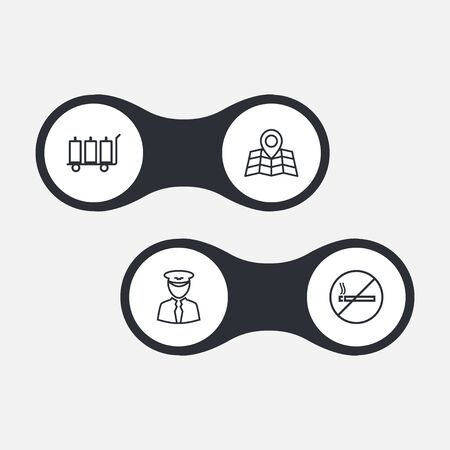 packet driver: Set Of 4 Plane Outline Icons Set.Collection Of Luggage Trolley, No Smoking, Map And Other Elements. Illustration