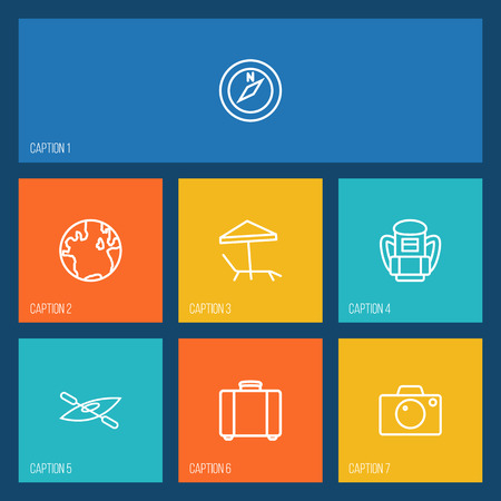 Set Of 7 Relax Outline Icons Set.Collection Of Boat, Compass, Photo And Other Elements. Иллюстрация