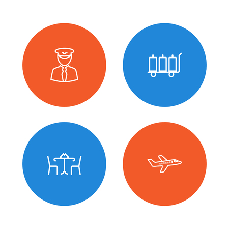 pareja comiendo: Set Of 4 Plane Outline Icons Set.Collection Of Plane, Pilot, Cafe And Other Elements.
