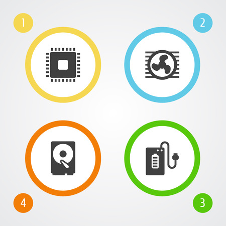 electronic components: Set Of 4 Laptop Icons Set.Collection Of Hard Disk, Fan, Microprocessor And Other Elements. Illustration