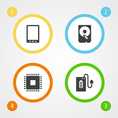 electronic components: Set Of 4 Laptop Icons Set.Collection Of Supply, Palmtop, Microprocessor And Other Elements.