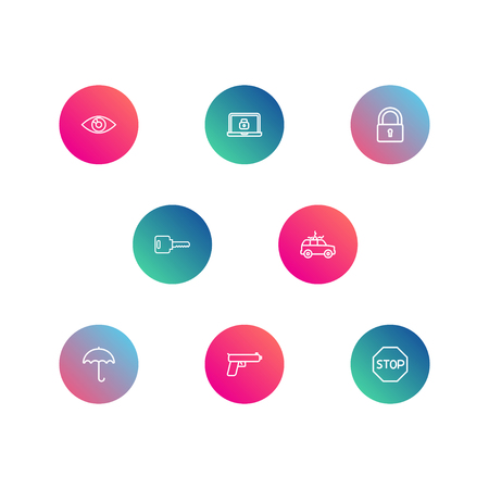 Set Of 8 Procuring Outline Icons Set.Collection Of Lock, Lock, Open And Other Elements.