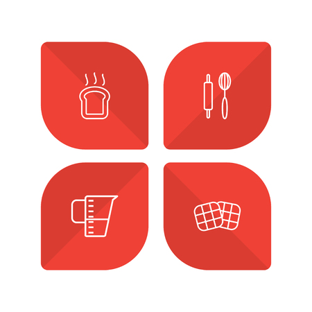 Set Of 4 Bakery Outline Icons Set.Collection Of Measuring Cup, Rolling Pin, Waffle And Other Elements.