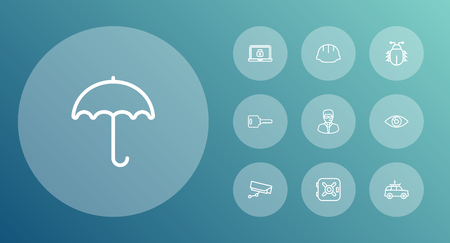 combination: Set Of 10 Procuring Outline Icons Set.Collection Of Helmet, Parasol, Supervision And Other Elements.