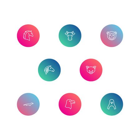 Set Of 8 Zoo Outline Icons Set.Collection Of Monkey, Pig, Mammal And Other Elements.