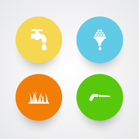 Set Of 4 Household Icons Set.Collection Of Filter, Hacksaw, Grass And Other Elements. Illustration