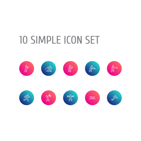 Set Of 10 Sport Outline Icons Set.Collection Of Player, Pong Ping, Swimming And Other Elements. Illustration
