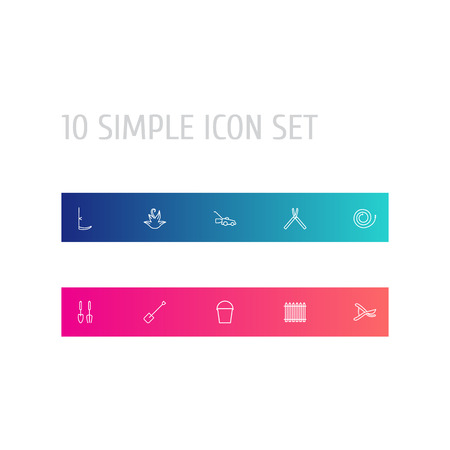 Set Of 10 Horticulture Outline Icons Set.Collection Of Spade, Firehose, Grass-Cutter And Other Elements.