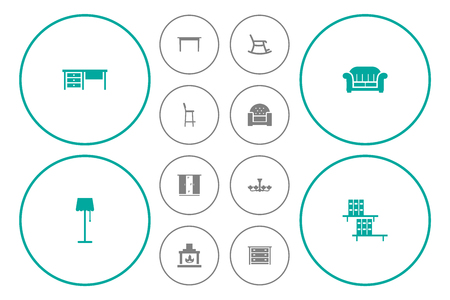 Set Of 12 Decor Icons Set.Collection Of Commode, Desk, Bookcase And Other Elements.