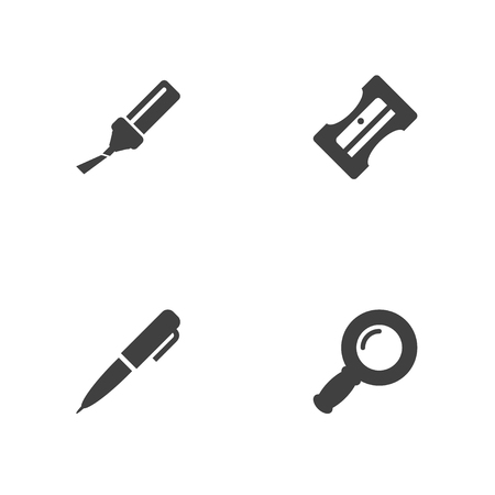Collection Of Zoom Glasses, Highlighter, Ink And Other Elements.  Set Of 4 Stationery Icons Set.