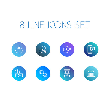 collect: Collection Of Exchange, Atm, Coins And Other Elements.  Set Of 8 Finance Outline Icons Set.