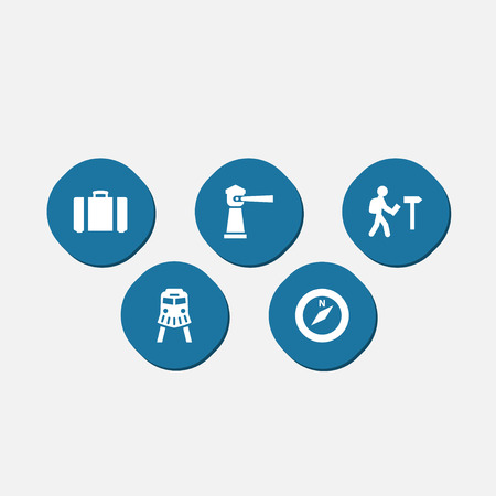 valise: Set Of 5 Relax Icons Set.Collection Of Suitcase, Traveler, Seamark And Other Elements.