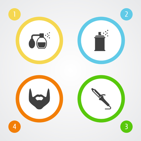 dryer: Set Of 4 Barber Icons Set.Collection Of Hairstylist, Hipster, Hairspray And Other Elements.
