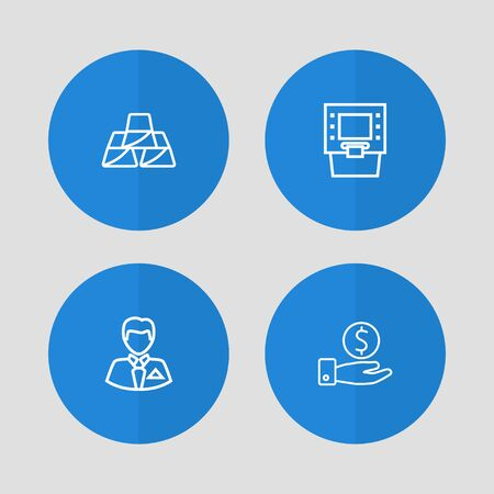 Set Of 4 Finance Outline Icons Set.Collection Of Businessman, Atm, Savings And Other Elements. Иллюстрация