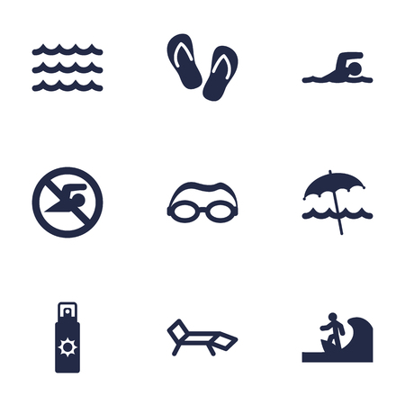 Set Of 9 Beach Icons Set.Collection Of No Swimming Sign, Mask, Diver And Other Elements.