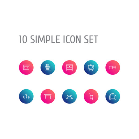 Set Of 10 Decor Outline Icons Set.Collection Of Table, Chandelier, Nightstand Elements. Illustration