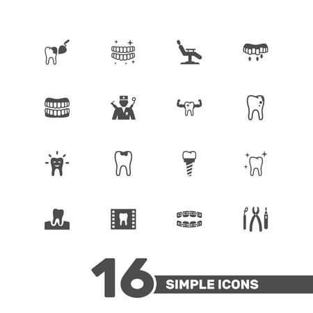 Set Of 16 Dental Icons Set.Collection Of Procedure, Decay, Prosthesis And Other Elements.