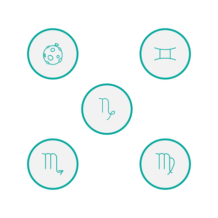 Set Of 5 Horoscope Outline Icons Set.Collection Of Gemini, Virgo, Moon And Other Elements.