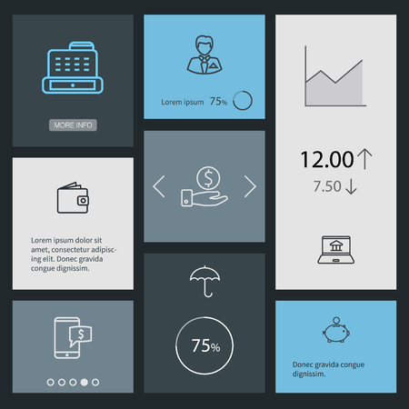 collect: Collection Of Money Box, Wallet, Electron Payment And Other Elements.  Set Of 8 Budget Outline Icons Set.