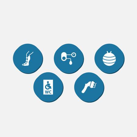 splint: Colección de férula, hipertensión, pilates y otros elementos. Conjunto de 5 iconos médicos conjunto.